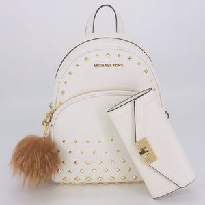 3PCS Michael Kors Abbey Studded Backpack Wallet